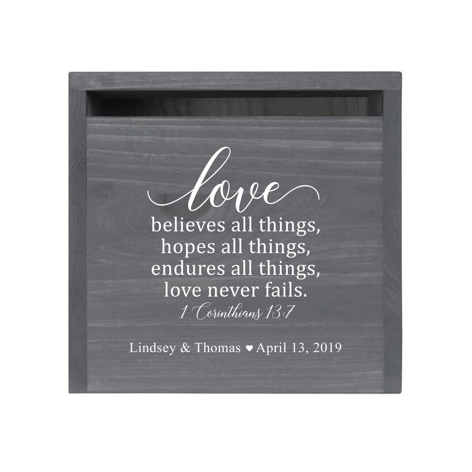 """LifeSong Milestones Personalized Love Never Fails Rustic Wooden Wedding Card Box Custom Card Holder with Front Slot for Newlyweds Couples Reception 13.5"""" L x 12"""" W x 12.5"""" T (Grey)"""