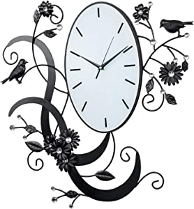 Birds & Flowers Design Black Metal Analog Wall Clock / Wall Mounted Decorative Accent with Rhinestones