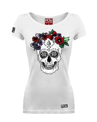 968923f52fd3f9 POV Cooles Damen T-Shirt Calavera Dia De Los Muertos Skull mexikanischer  Totenkopf  Amazon.de  Bekleidung