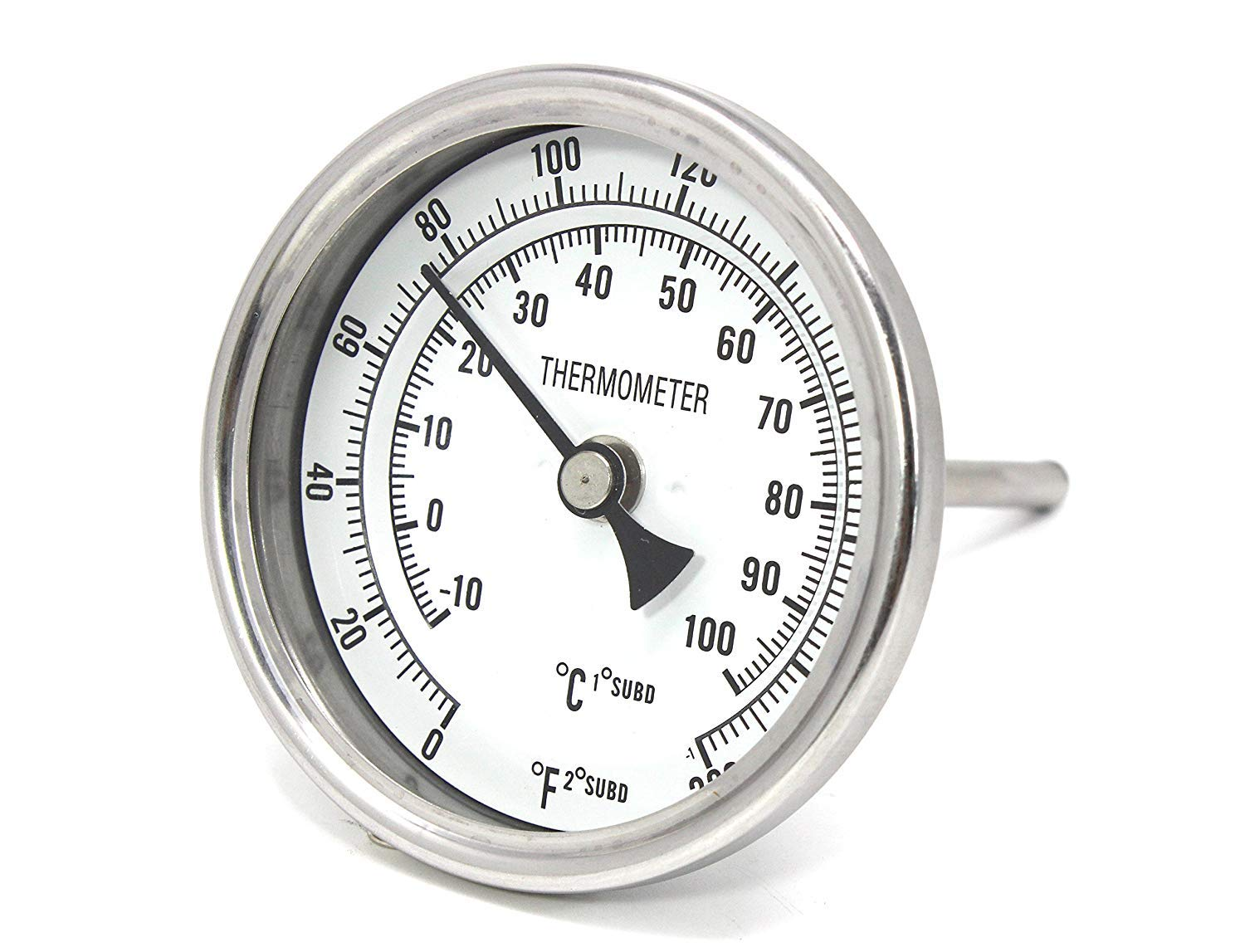 K&B Beer Brew Thermometer - 3'' Dial Face, 6'' Stainless Probe, 1/2'' MPT by K&BB Supplies