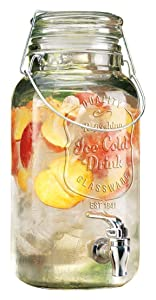 Home Essentials & Beyond 4800 Del Sol Impressions Ice Cold Beverage Dispenser Jug 1 Gallon Clear Bail & Trigger With Locking Clamp Drink Dispenser With Easy Flow Spigot Clear For Picnics Parties B