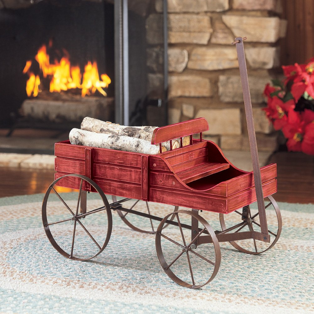 Amish Wagon Decorative Indoor/Outdoor Garden Backyard Planter, Red by Collections Etc (Image #5)