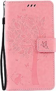 Aslim Moto Z Case, Moto Z Droid Flip Case,Moto Z PU Leather Wallet Embossed Floral Tree Cat Case with Kickstand Flip Cover Card Holder for Moto Z, Moto Z Droid Pink