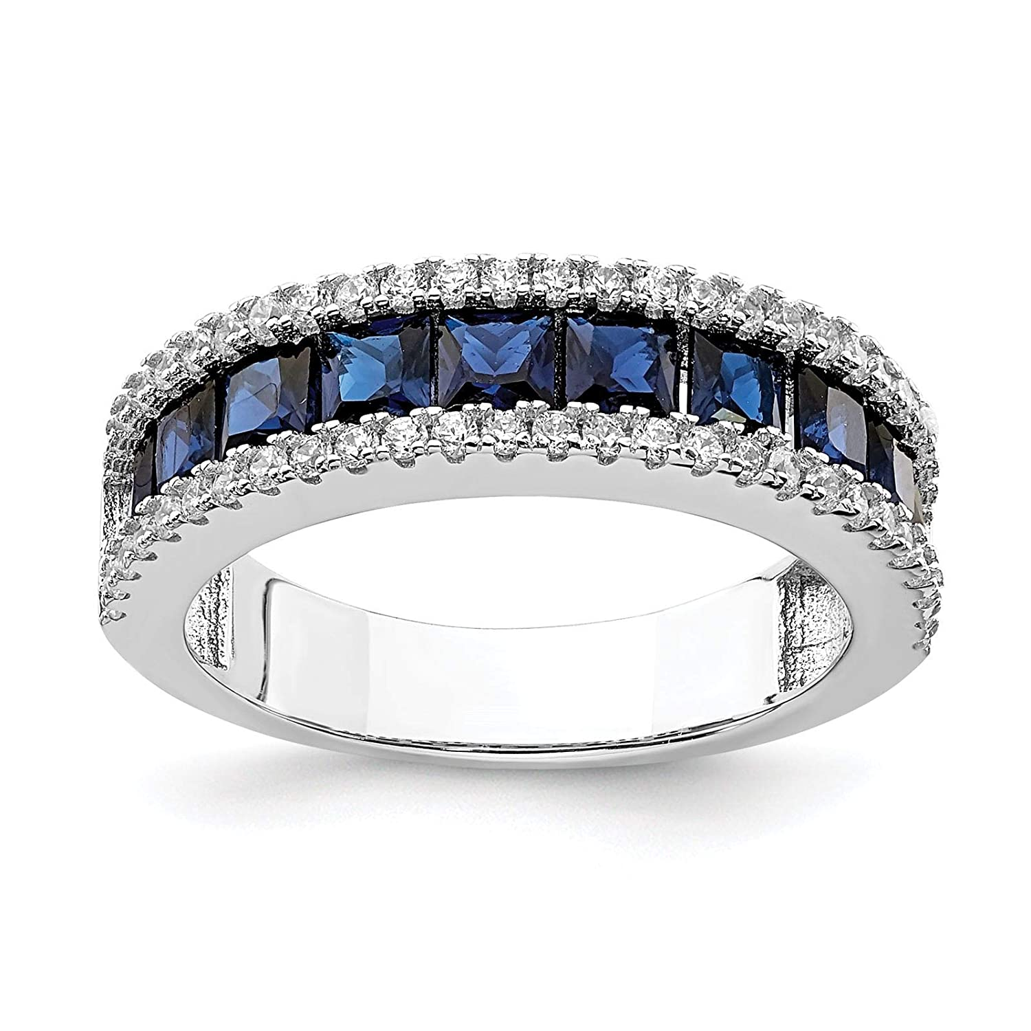 925 Sterling Silver Rhodium-plated Created Blue Spinel /& CZ Wedding//Anniversary Ring Band Size 6-8