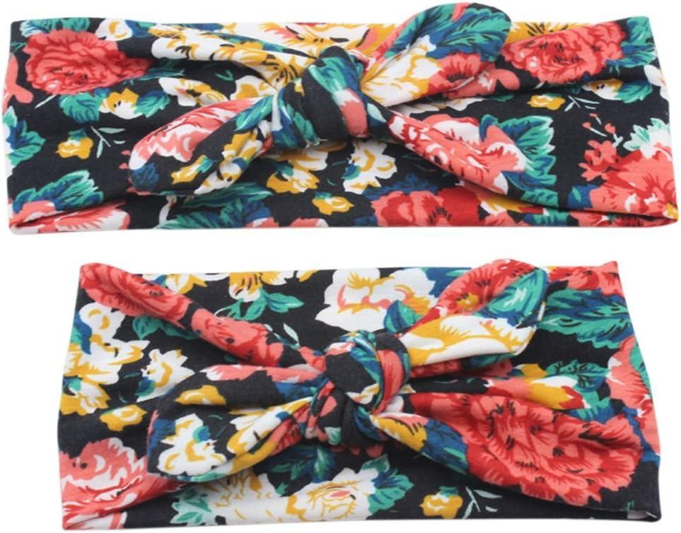 Meisijia 2pcs mam/á de los ni/ños de la impresi/ón Floral de Bohemia Hairband Turbante Nudo o/ídos de Conejo Diadema de la Madre del beb/é Headwear el/ástico