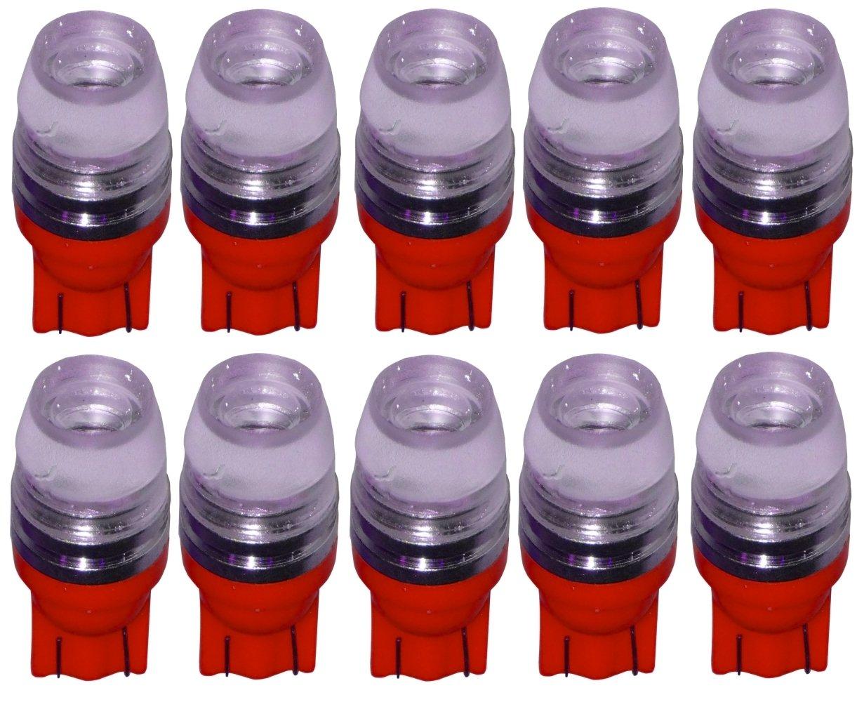 AERZETIX 10x ampoule T10 W5W 12V COB LED HIGH POWER rouge veilleuses é clairage inté rieur seuils de porte plafonnier pieds lecteur de carte coffre compartiment moteur plaque d'immatriculation SK2-C10361-I5