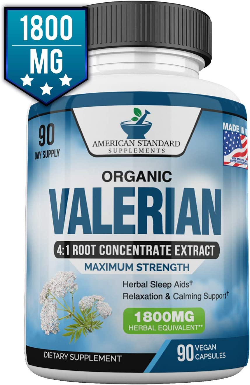 Valerian Root Capsules Organic 1800mg, Natural Sleep Aid, Sleeping Pills for Adults, Better Than Melatonin Gummies, 90 Veggie Caps, 3 Month Supply
