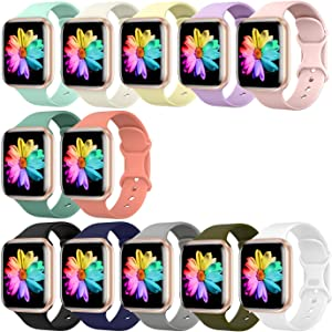 Sport Band Compatible for Apple Watch Band 42mm 44mm, SWHAS Soft Silicone Band Replacement Wrist Strap for iWatch Series 5/4/3/2/1,1-12 Pack,Large
