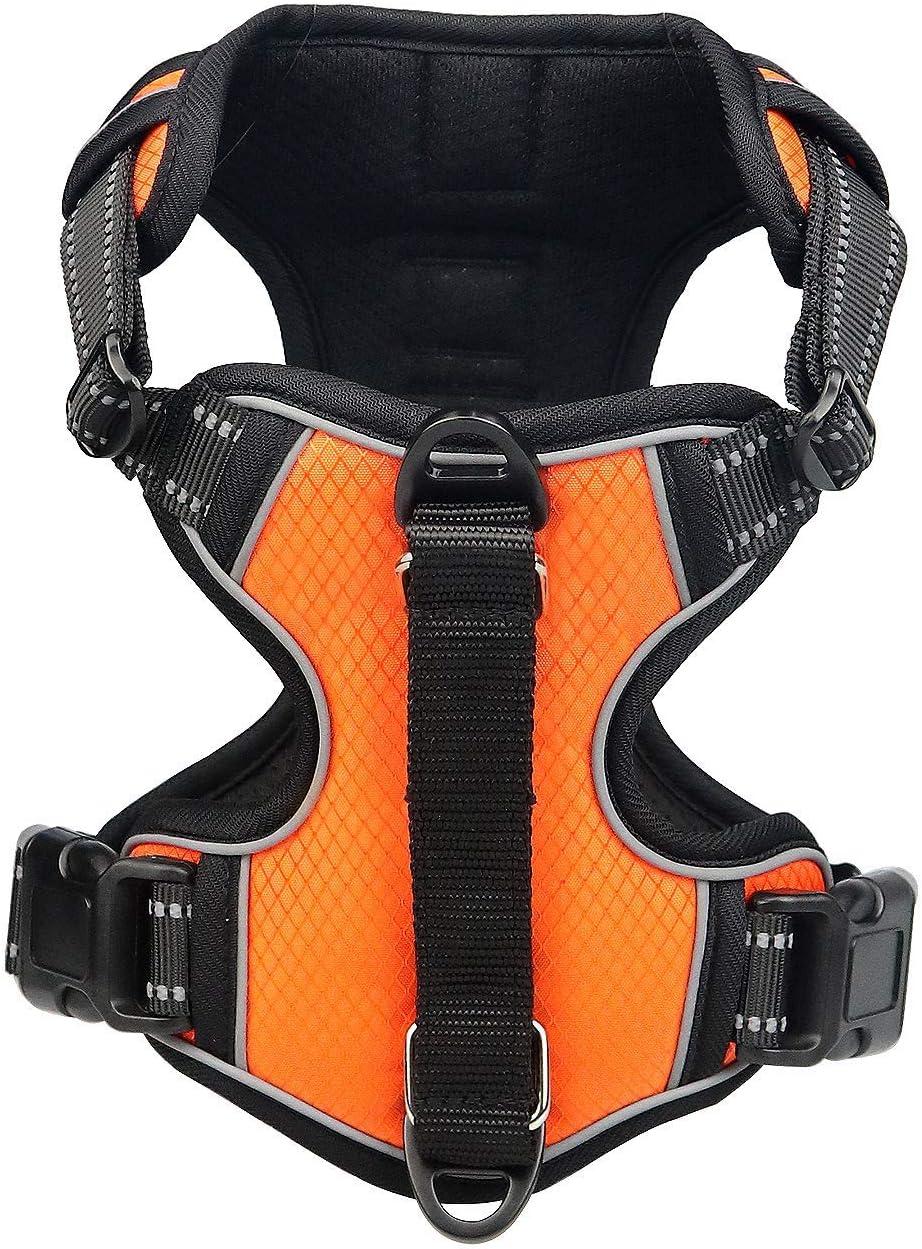 Papipaw Arnés Ajustable para Perros Sin Tirones de Fácil Control Arnés Impermeable Reflectante Nocturno Correa de Seguridad (XL,Naranja)
