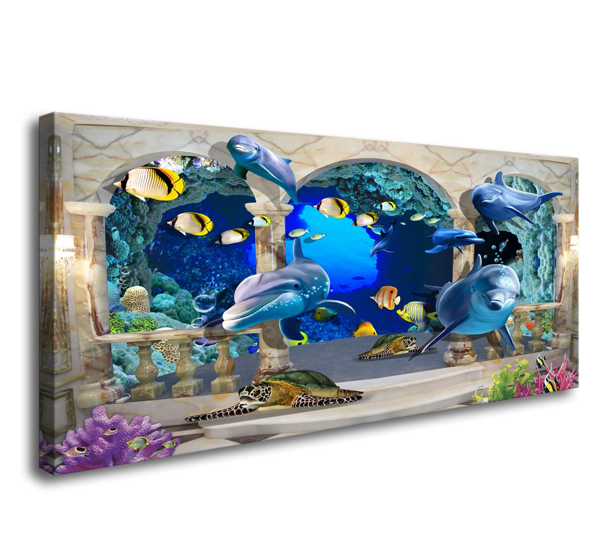 D72850 Canvas Wall Art 3D Dolphin Turtle and Fish Background Large Wall Decor Artwork Painting Ocean Decor for Living Room Bedroom Bathroom Decoration