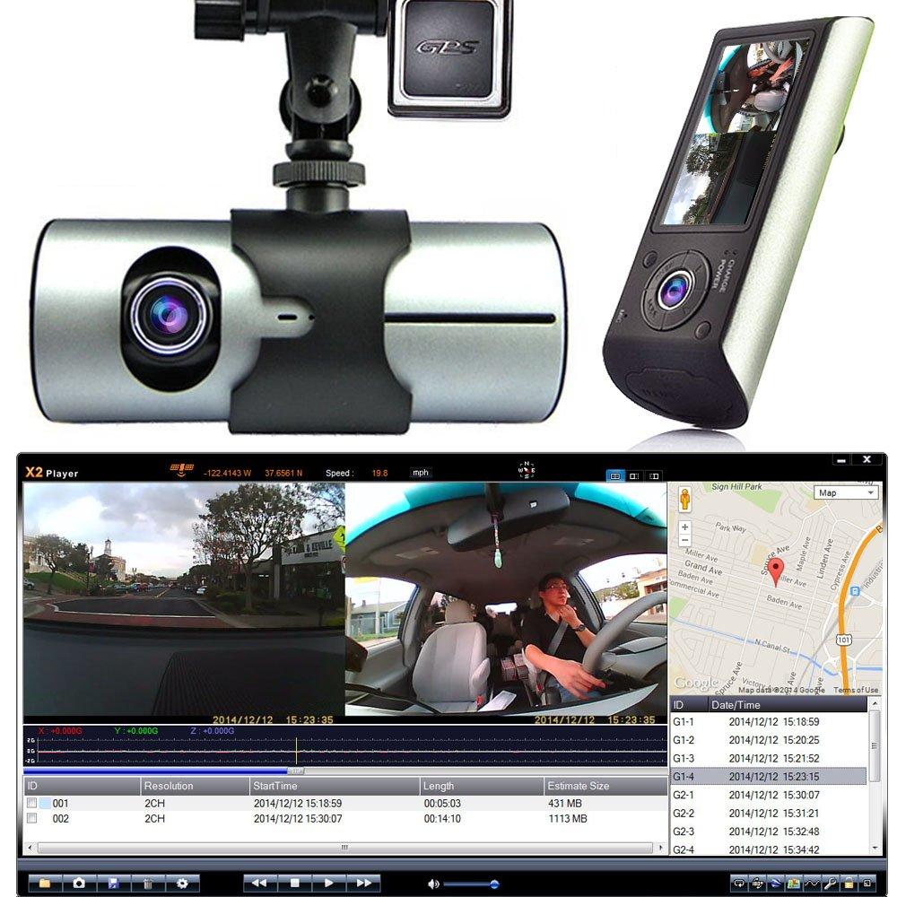 Indigi HD Car DVR Dual Camera Lens Dash Cam Night Vision GPS Logger G-Sensor Time Stamp