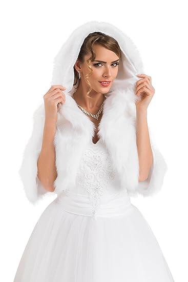 Ossafashion Bolero Braut Jacke Die Brautjacke Kapuzenpullover Pelzstola Hochzeit Pelerine Damen Für BexoWrdC