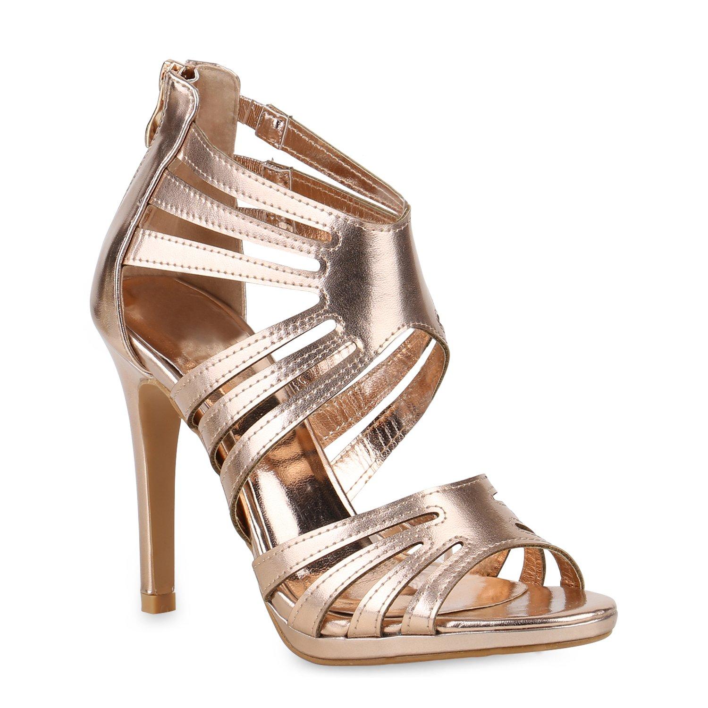 Stiefelparadies Damen Sandaletten High Heels mit Pfennigabsatz Strass Nieten Flandell Rose Gold Metallic Camargo