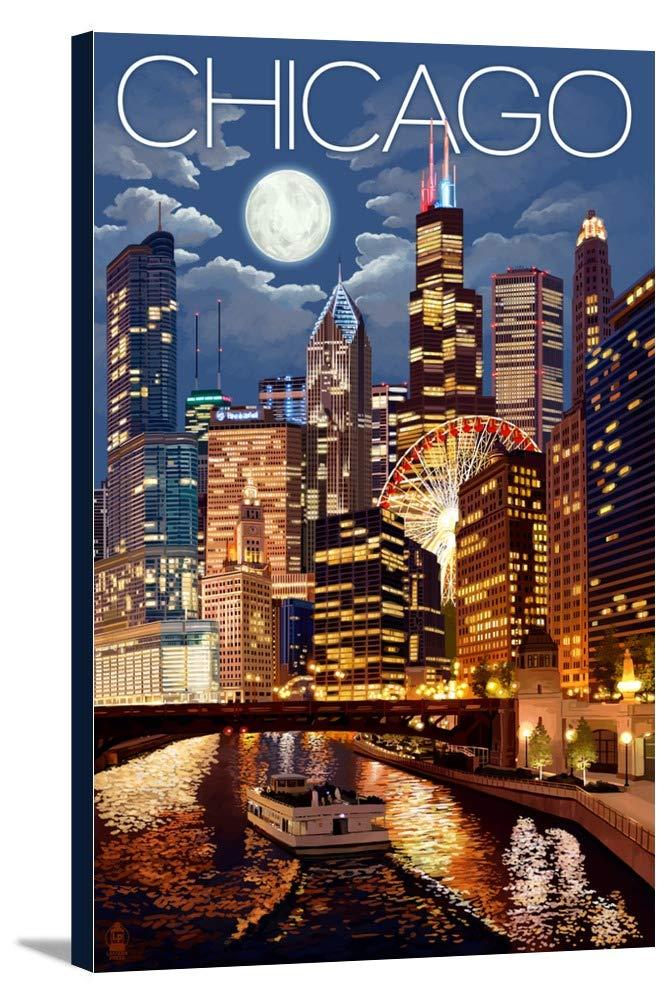 シカゴ、イリノイ – 夜のスカイライン 16 x 24 Gallery Canvas LANT-3P-SC-44877-16x24 16 x 24 Gallery Canvas  B016NYCY3C