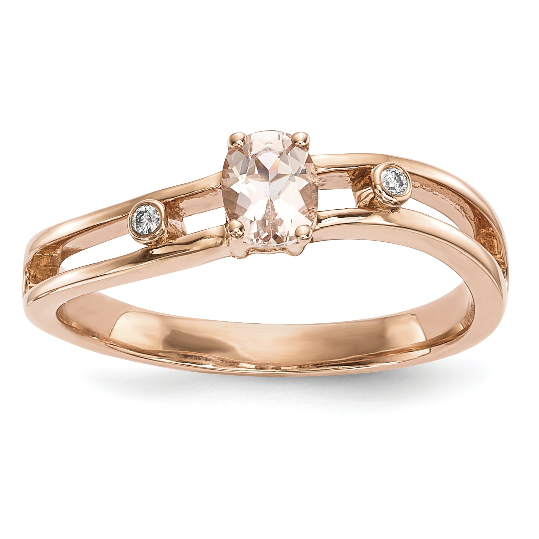 ICE CARATS 14k Rose Gold Pink Morganite Diamond Band Ring Size 7.00 Gemstone Fine Jewelry Gift Set For Women Heart