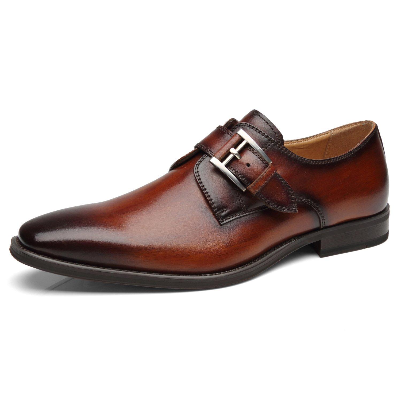 La Milano Mens Plain Toe Monk Strap Slip On Loafer Leather Oxford Monk Shoes Formal Business Dress Shoes
