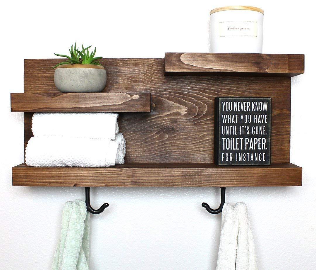 Amazon Com Bathroom Wall Shelf Organizer With Towel Hooks Custom Color 100 Handmade In Usa Handmade