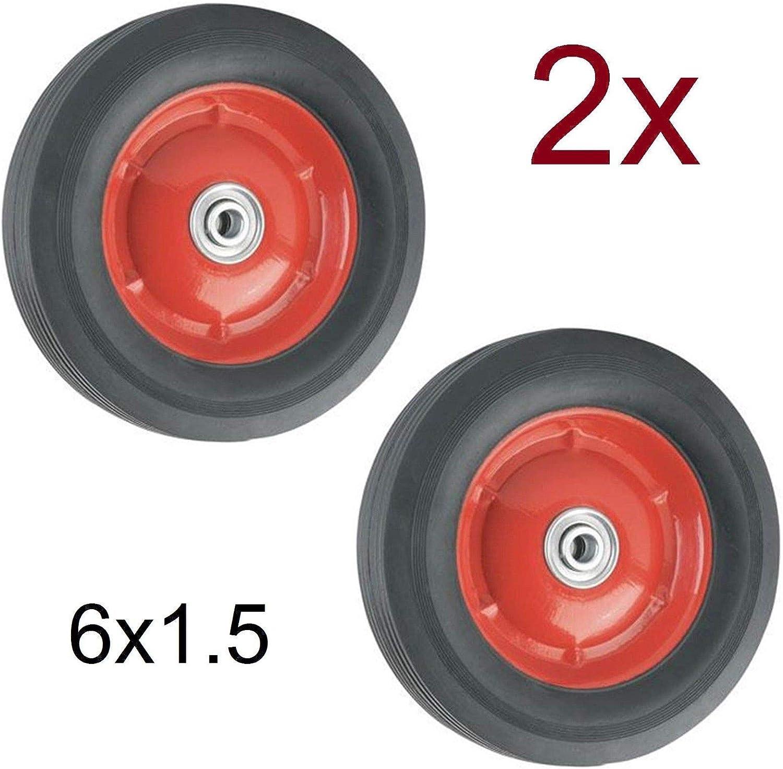 Ruedas Macizas 6x1.5 con Rodamientos para Carretilla Plataformas Carros 15,3cm 6