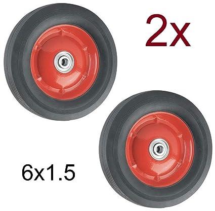 """2X Rueda Maciza 6x1.5 con Rodamientos para Carretilla Plataformas Carros 15,3cm 6"""""""