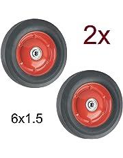 2X Rueda Maciza 6x1.5 con Rodamientos para Carretilla Plataformas Carros 15,3cm 6