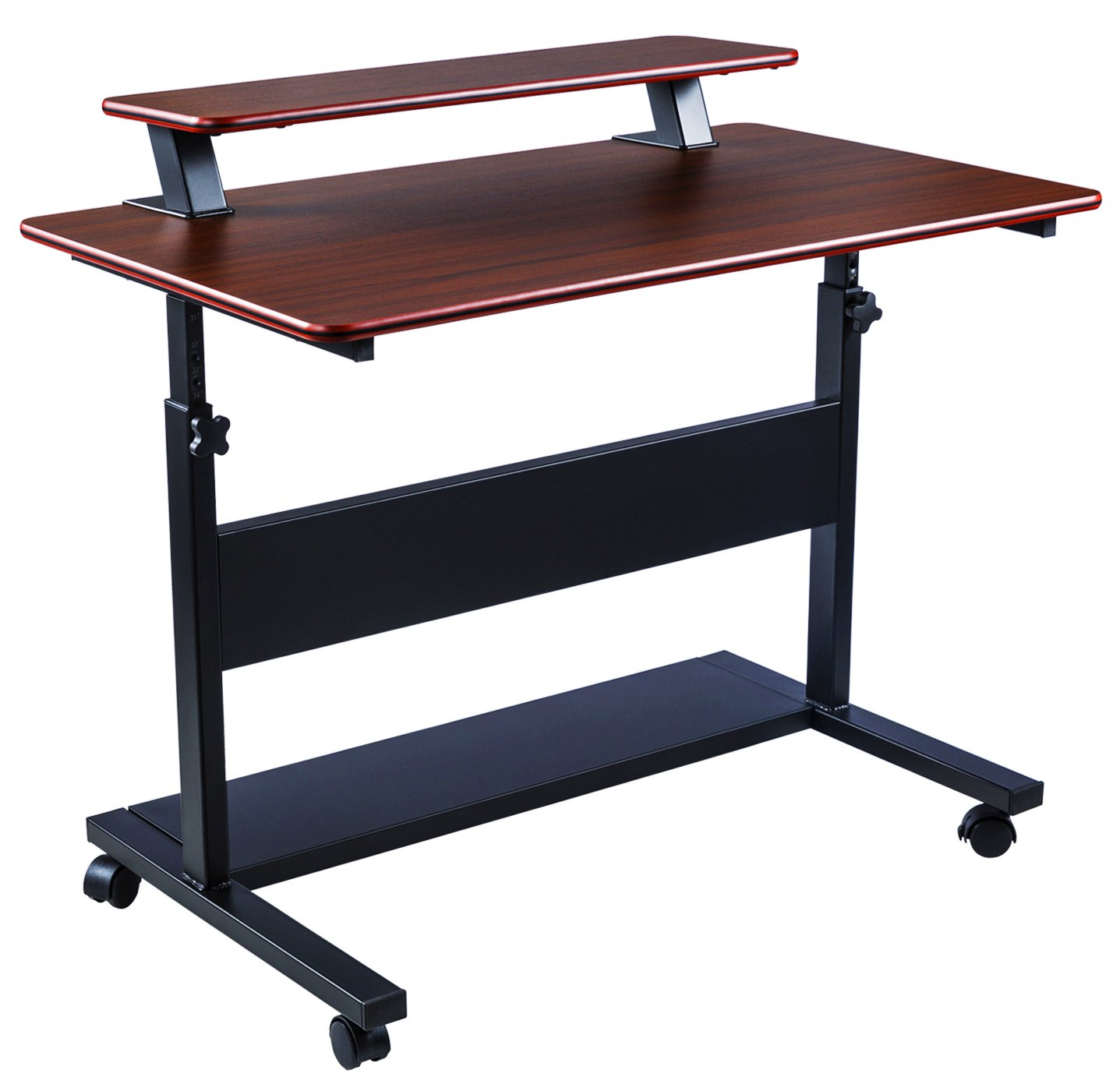 40'' Height Adjustable Mobile Stand Up Desk, 2-Tier Standing Computer Workstation with Detachable Hutch, Teak