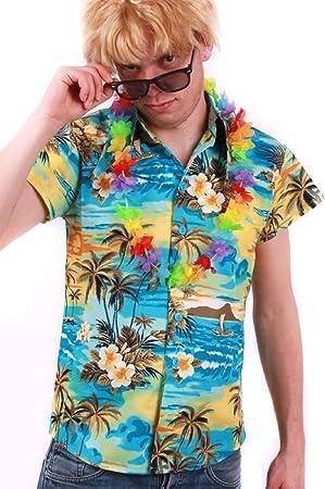 Camisa hawaiana de colour turquesa para Hombre Talla L ...