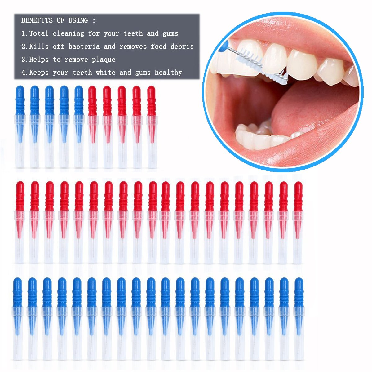 OFKPO 50pcs Escobilla Dental con Tapa de Viaje Suave para Cuidado de Dientes, Rojo y Azul