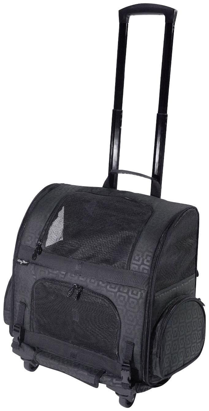 Gen7Pets Roller-Carrier Backpack with Smart-Level (Black Geometric, Large)