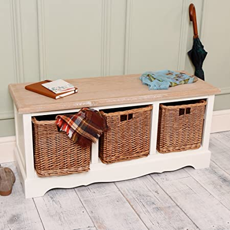 Luxury French Country Wooden Storage Bench With Three Wicker Drawers    Ideal For Storing Hats,