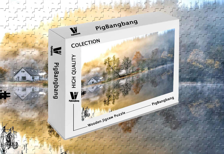 超歓迎 PigBangbang、手作り知育ゲーム難易度 -、ジグソーグル付きプレミアム木製 自然 - 美しい絵画家 森の湖 B07G7T2CDB 自然 朝の霧 - 1000ピース ジグソーパズル (29.5 X 19.6インチ) B07G7T2CDB, 木のおもちゃB.B.SHOP:94b51474 --- a0267596.xsph.ru