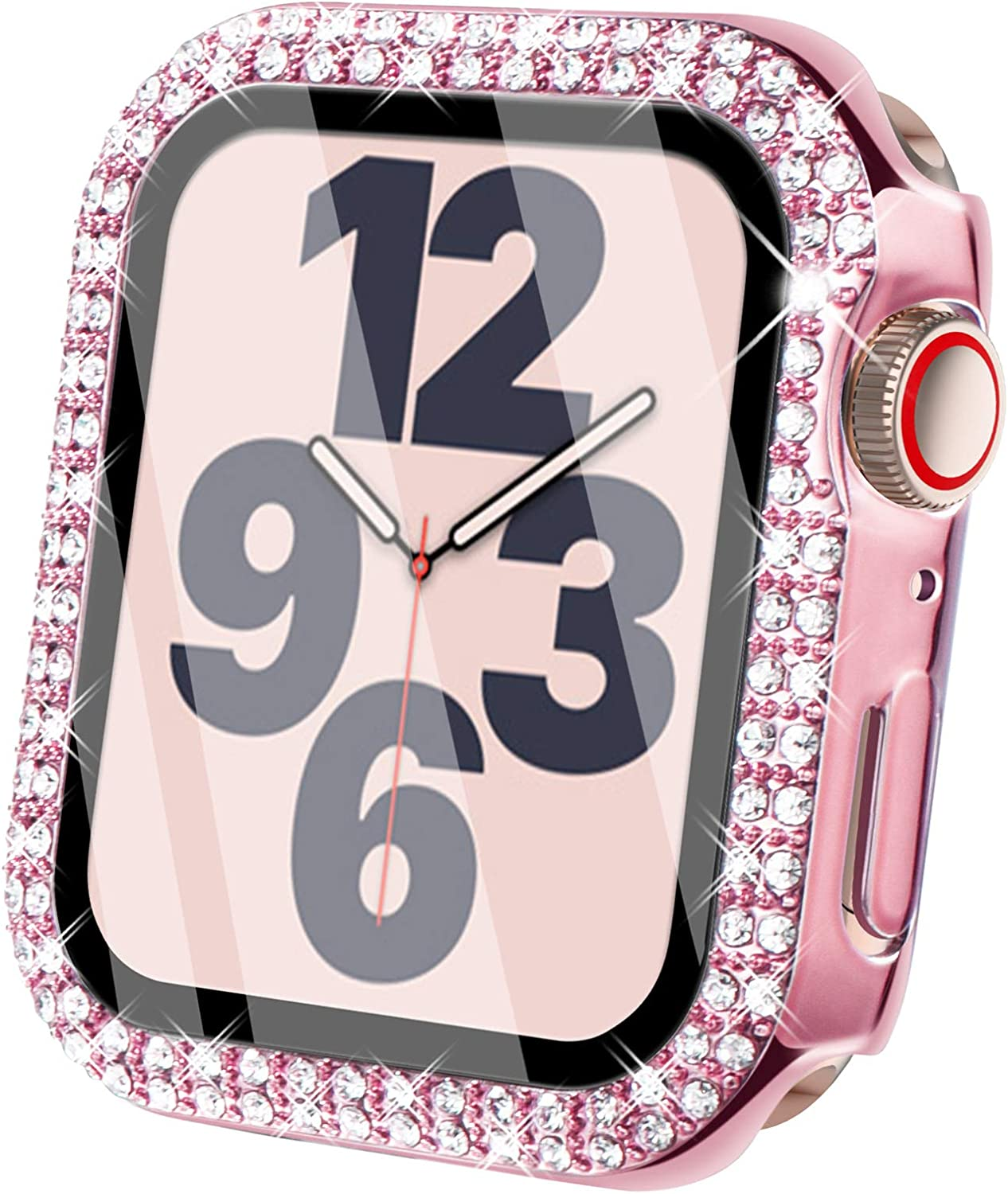 Surace Compatible for Apple Watch Case with Screen Protector 38mm, Bling Crystal Tempered Glass Overall Protective Case Compatible with Apple Watch Series 6/5/4/3/2/1 38mm 40mm 42mm 44mm, Pink