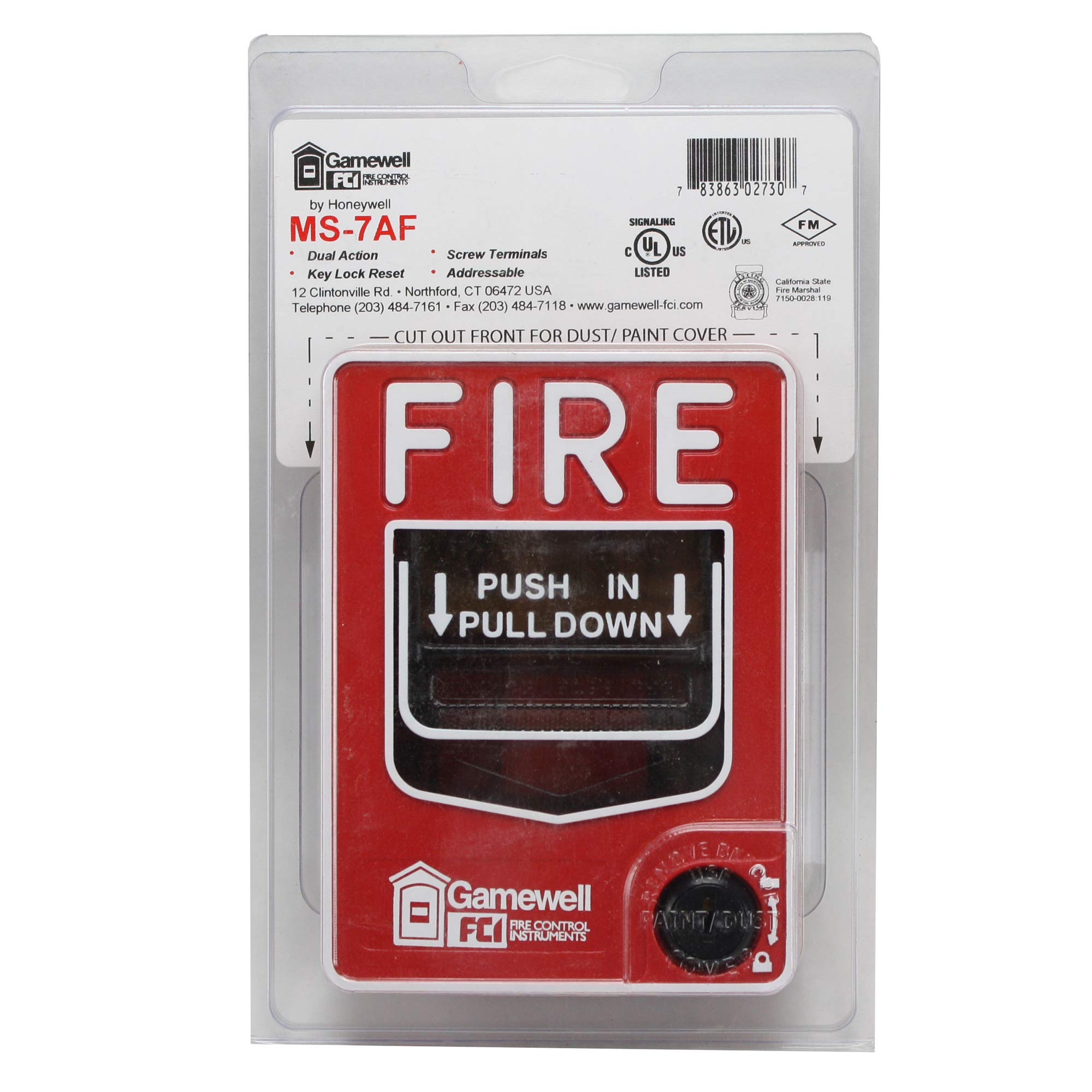 Gamewell-FCI MS-7AF Fire Alarm Dual Action Pull Station, Red by Gamewell-FCI
