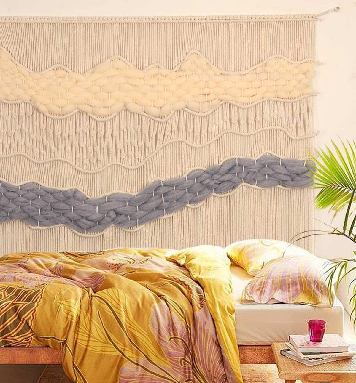 Flber Macrame Wall Hanging Macrame Curtain Boho Handmade Wall Art,52 x 40