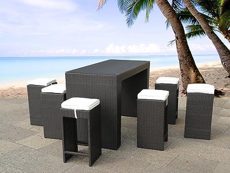 Outdoor bar set in resina da tavolo con 6 sgabelli verona