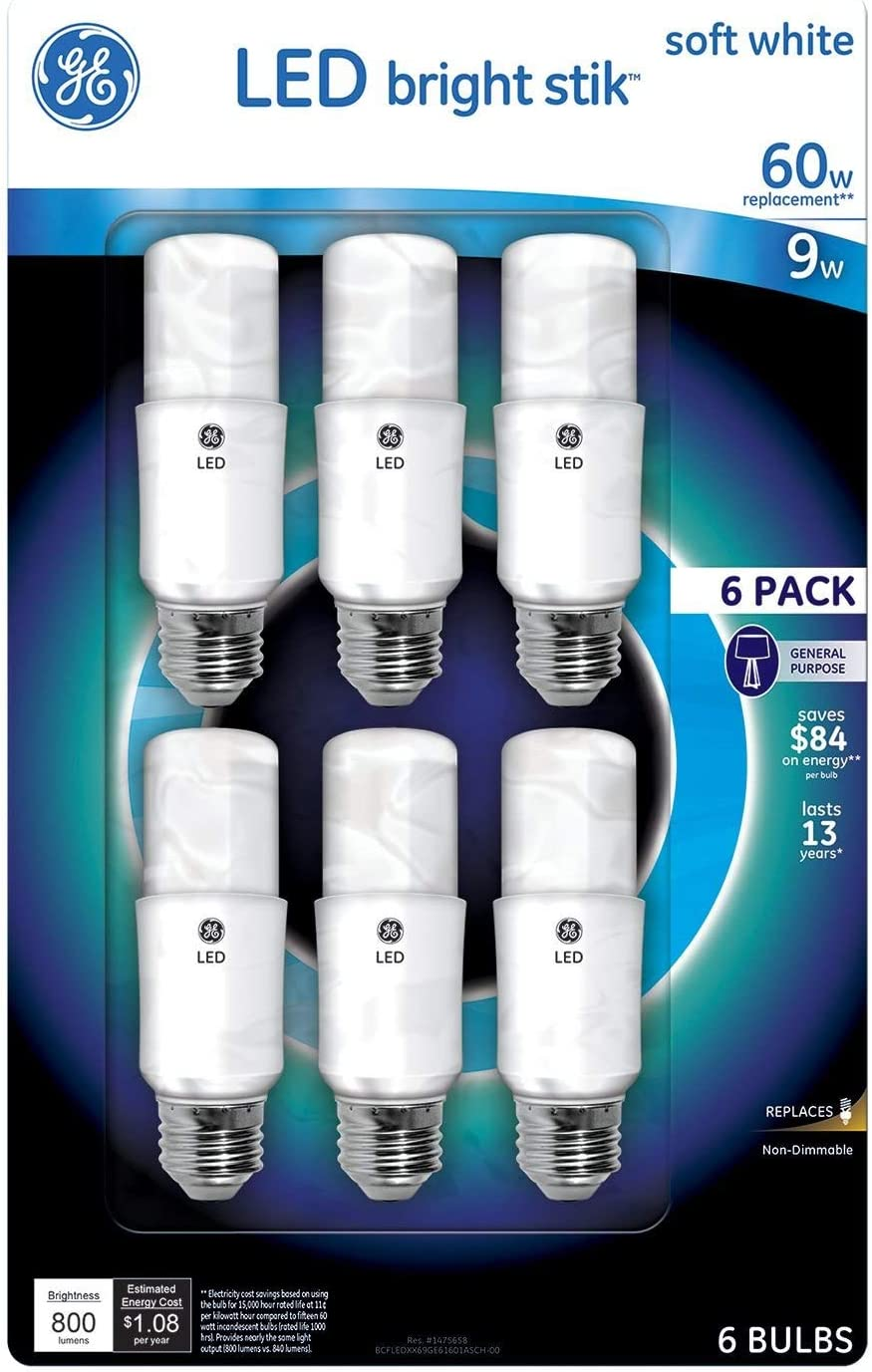 GE Bright Stik 9 Watt Non-Dimmable 2700K LED Bulb,6-Pack