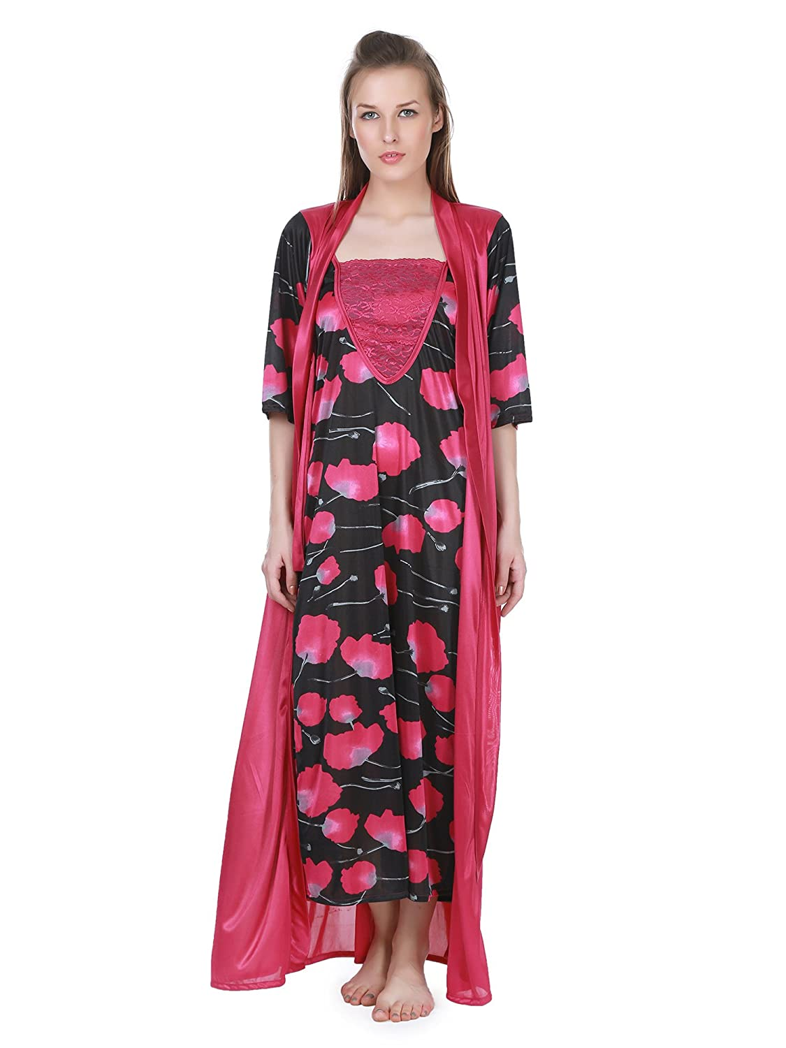 9be2d63ad9 Claura 3 pc stylish combo of Printed Long Nighty with robe and Baby doll  nighty  Amazon.in  Clothing   Accessories