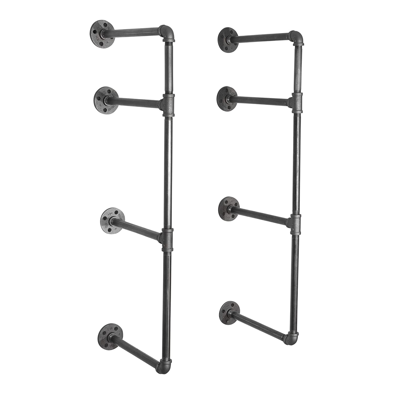 Pipe Decor 3 Tier Industrial Shelves, Vintage Iron DIY Shelving Unit, Rustic Wall Mounted Hanging Bookshelf, Perfect for Garage or Kitchen Storage, Heavy Duty Floating Black Metal Rack Sturdy 35 inch