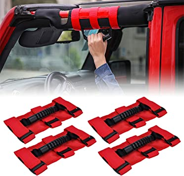 Red 4 x Roll Bar Grab Handles Grip Handle For Jeep Wrangler TJ JK 1995-2018