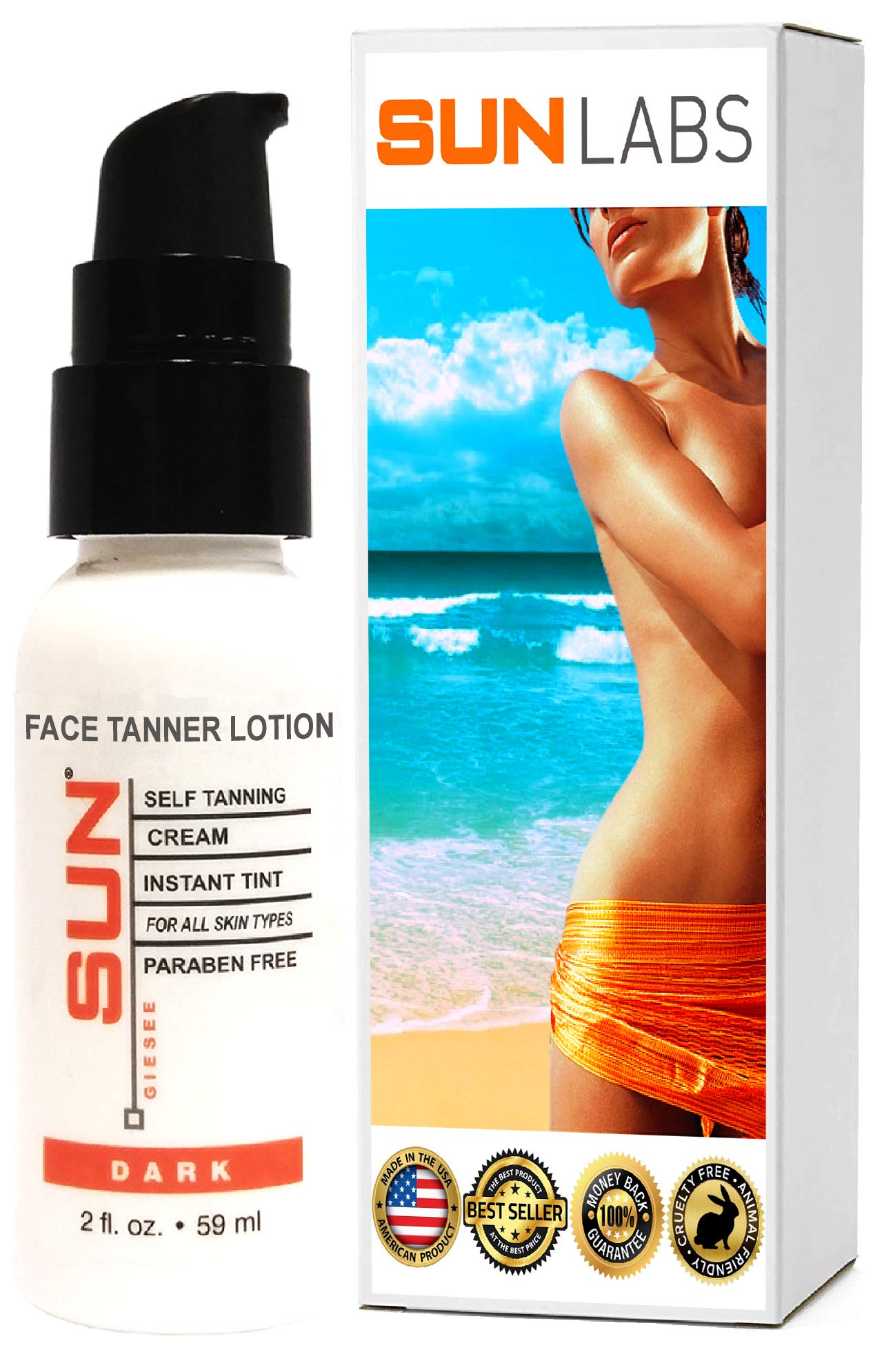Face Tanner Travel Size Self Tanner Moisturizer for Face 2 oz Face Serum Tanning Lotion Face moisturizer Indoor Tanning lotion by Sun Laboratories