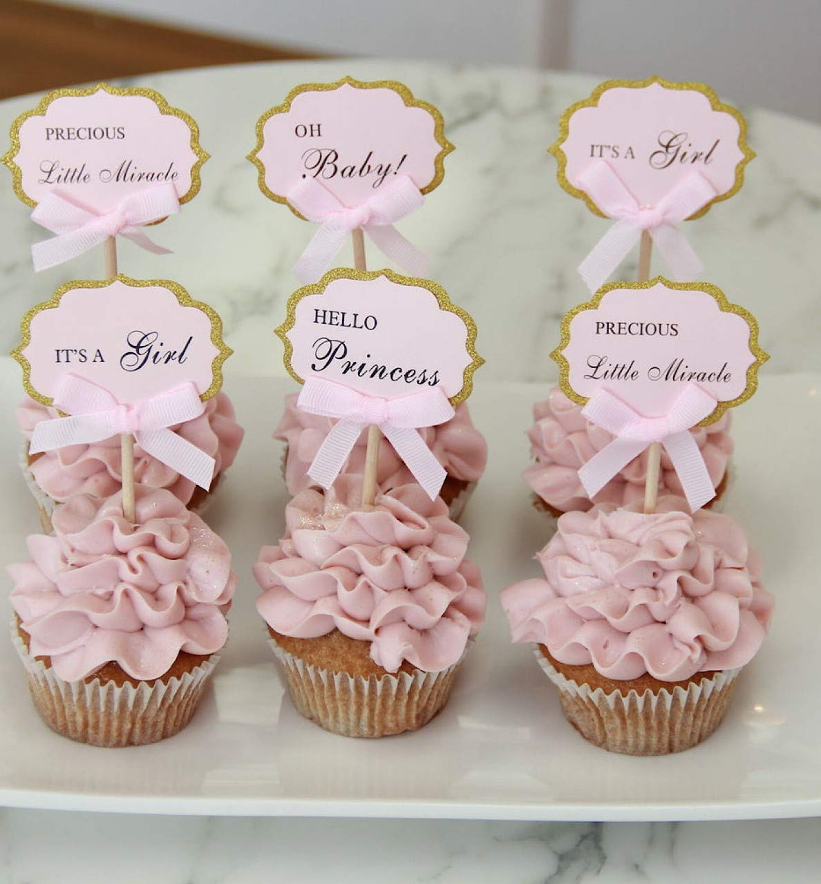 Oh Girl Cupcake Toppers Baby Shower Party Cupcake Toppers Baby Girl Favours Pink