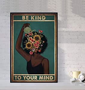 Bug Hunter Black Girl Poster - Black Girl Mental Health Poster- Black Woman Poster Wall Art Home Decor Gifts for Lovers Painting (No Frame)