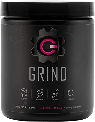 GRIND – Pre Workout Energy w Joint Support BCAA Recovery Raspberry Lemonade Powder 30 Servings – Rhodiola, GABA for Clean Healthy Energy – Surgeon formulated All-in-one Energy and Nootropic Mix