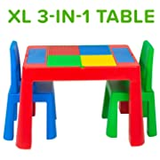 Play Platoon XL Kids Activity Table Set - 3 in 1 Large Water Table, Craft Table and Building Brick Table with Storage - Includes 2 Chairs - 28 x 21 x 18.5 Inch