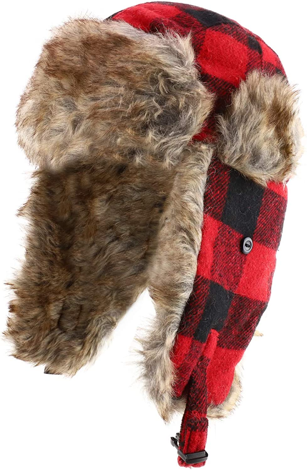 Armycrew Faux Fur Trimmed Buffalo Plaid Earflap Winter Trooper Hat