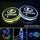 YenCar 車用 LED ドリンクホルダー レインボーコースター 車載 ロゴ ディスプレイライト LEDカーカップホルダー マットパッド (レクサス lexus)