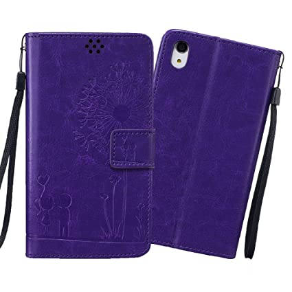 XiaoXiMi Funda Sony Xperia Z2 Carcasa Diente de león en relieve Patrón Funda Protectora Carcasa Cartera de PU Cuero Flip Wallet Case Cover Bumper ...