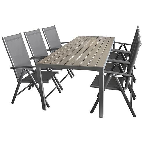 Sitzgruppe Gartengarnitur Gartenmöbel Terrassenmöbel Set Sitzgarnitur  Aluminium Polywood Tisch 205x90cm + 6x Hochlehner 2x2
