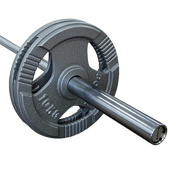 POWRX Olympia (Hierro Colado, 1 par (2 Pieza) Mancuernas Mancuernas rundgeschliffen Plata/Gris Agujero de 50 mm Fundido Juego 2,5; 5; 10; 15; 20 kg Discos: ...