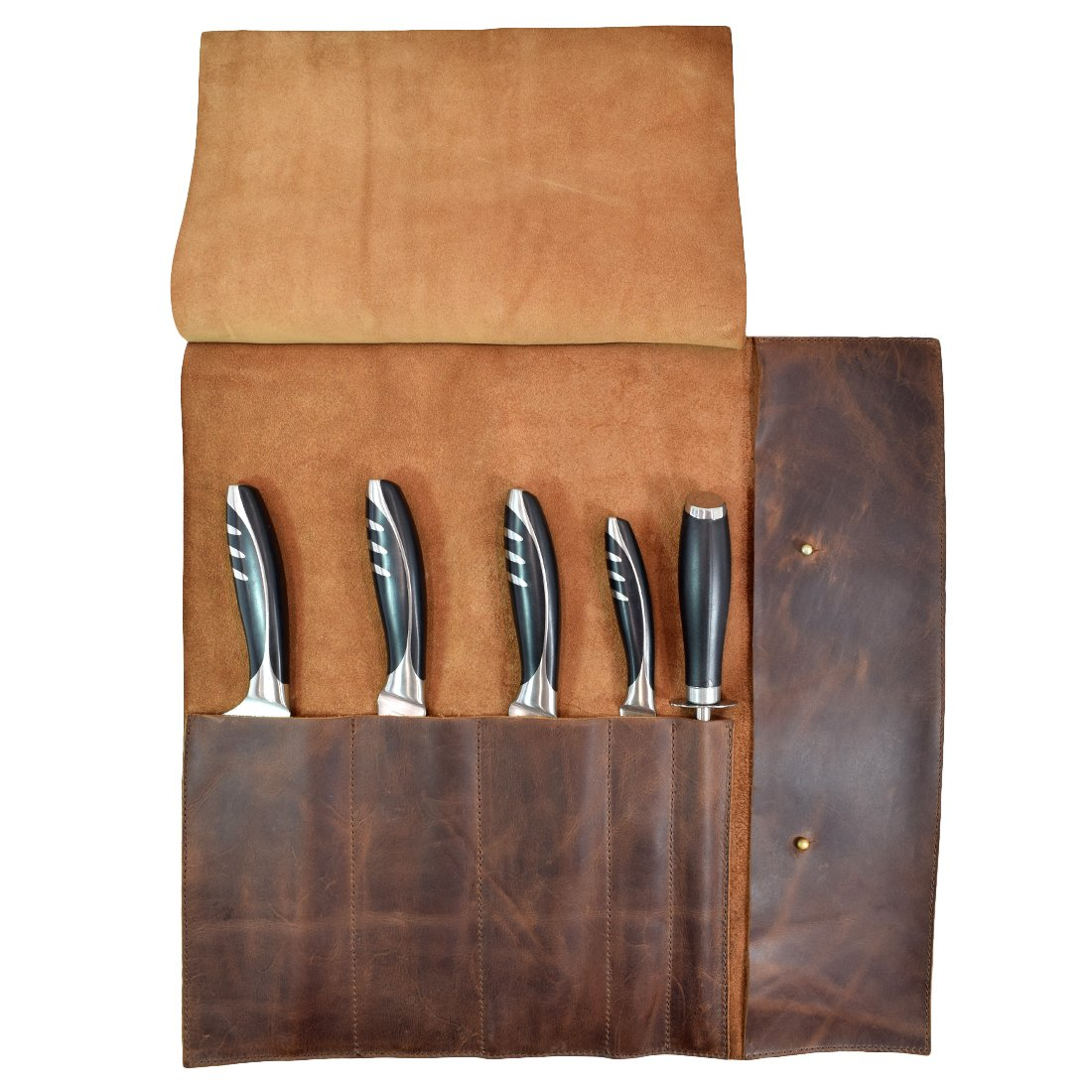 Rustic Leather Knife Roll (5 pockets) Handmade by Hide & Drink :: Bourbon Brown by Hide & Drink