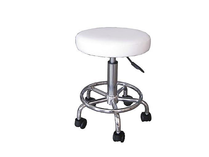Sgabello con ruote bianco regolabile in altezza da a cm